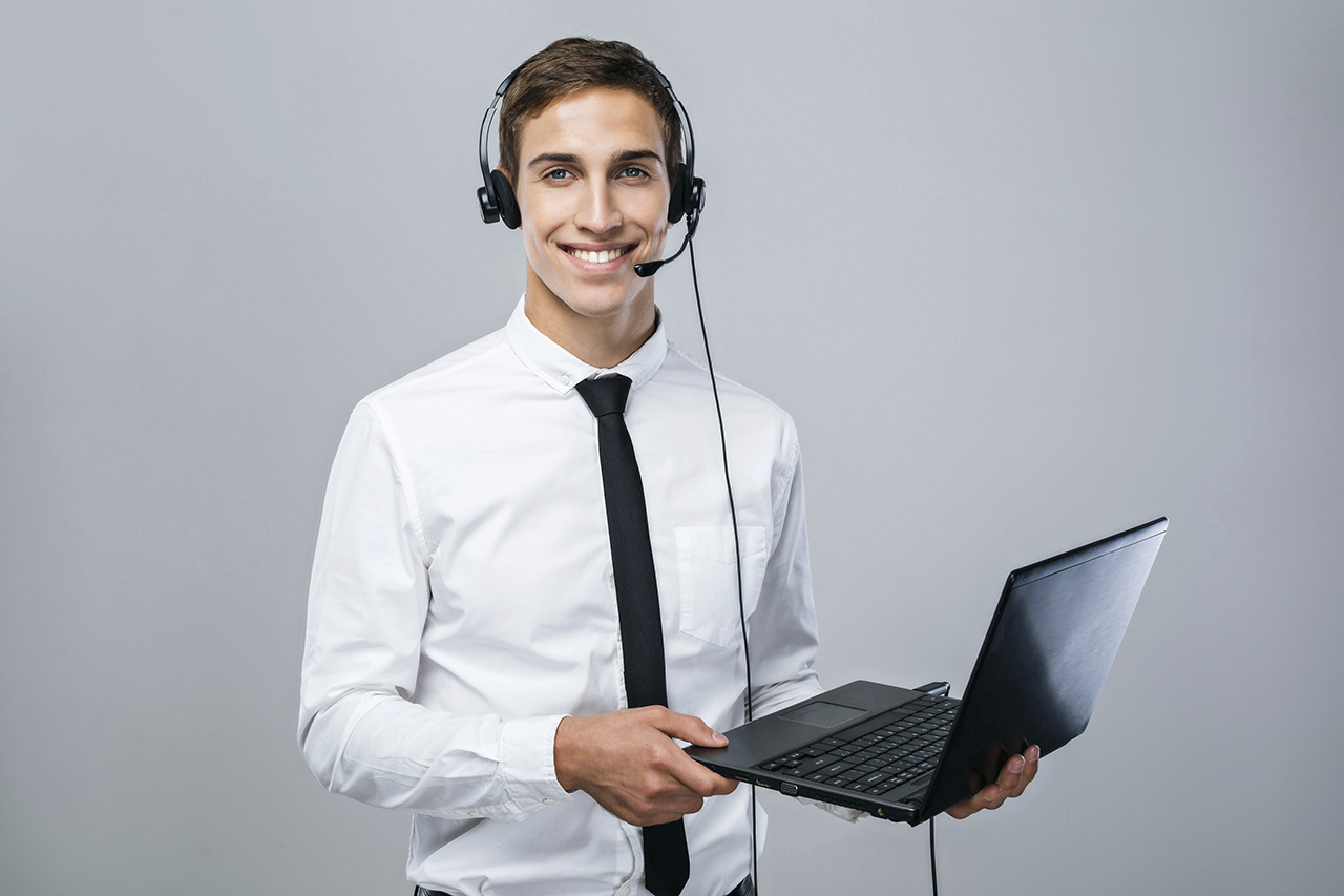 Concept for male call center operator